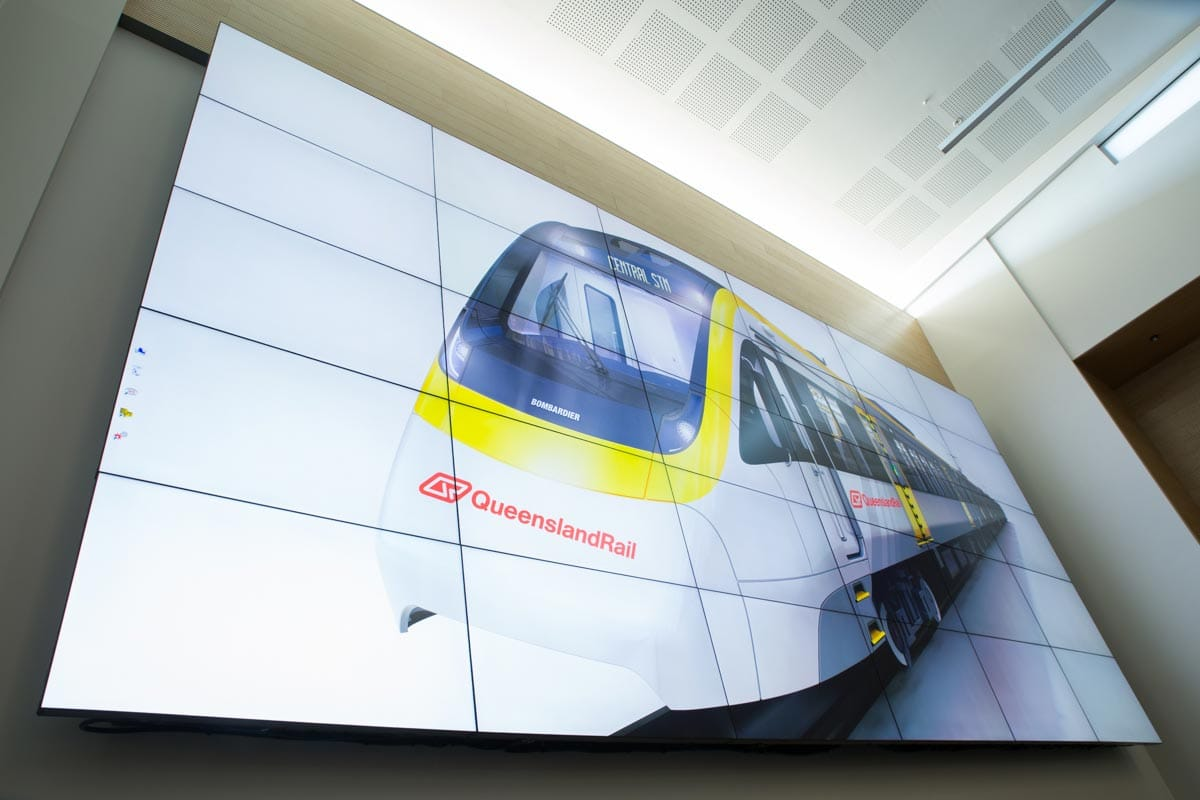 Large LCD screen at QLD Rail